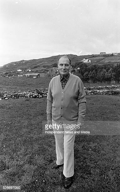 Former French President Francois Mitterand relaxes during a short break in Bunavalla Caherdaniel County Kerry Photographer Tom Burke 12th August 1988