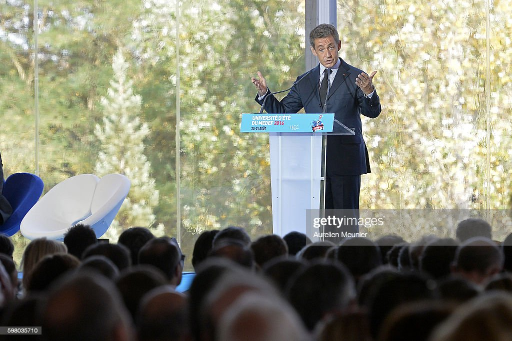 Former French President Nicolas Sarkozy addresses hundreds of political supporters during the Medef summer University conference on August 31 2016 in...