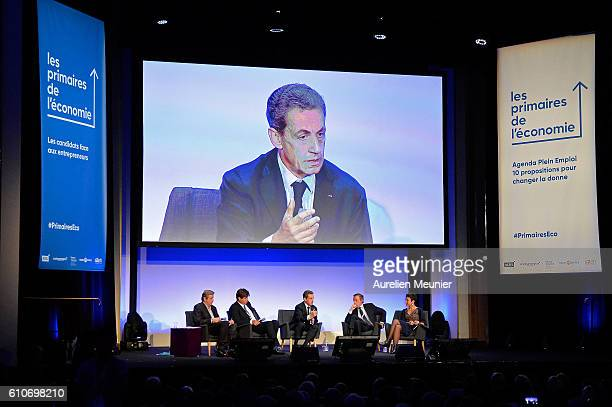 Former French President Nicolas Sarkozy addresses the voters during the Rightwing Opposition Party 'Les Republicains' primary elections meeting on...