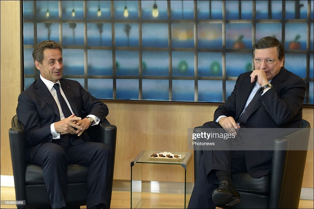 Former French President Nicolas Sarkozy and President of the European Commission Jose-Manuel Barroso attend a meeting at the EEC Commission on March 27, 2013 in Brussels, Belgium. Sarkozy was in Brussels to present France's highest honour, the Legion of Honour, to Belgian Foreign Minister Didier Reynders and later attended meetings with European Commission president Jose Manuel Barroso and European Council president Herman Van Rompuy.