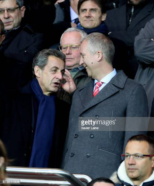 Former French president Nicolas Sarkozy and Vadim Vasilyev of AS Monaco attend the French Cup SemiFinal match between Paris SaintGermain and As...
