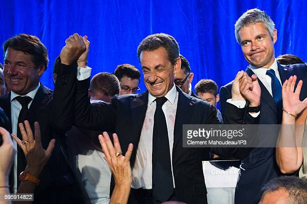 Former French President Nicolas Sarkozy holds his first campaign meeting in order to officialize his candidacy to the Right Wing Primary Election for...