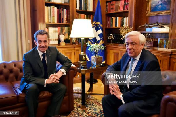 Former French President Nicolas Sarkozy meets with Greek President Prokopis Pavlopoulos in Athens on October 23 2017 Sarkozy arrived in Athens to...