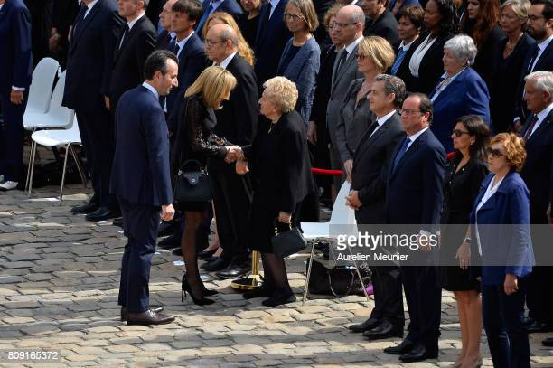 Former French President Nicolas Sarkozy salutes Bernadette Chirac during Simone Veil during her funeral at Hotel Des Invalides on July 5 2017 in...