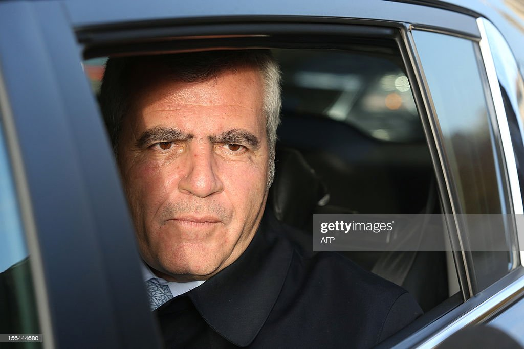 Former French President Nicolas Sarkozy's lawyer Thierry Herzog leaves the Bordeaux's courthouse, in southwestern France, on November 15, 2012, after meeting the investigating judges as part of the so-called Bettencourt case. The case including allegations of tax evasion and illegal campaign funding caused embarrassment to Sarkozy's government, after L'Oreal heiress Liliane Bettencourt's former accountant revealed that right-wing UMP party had alledgedly received illegal funding. AFP PHOTO/ NICOLAS TUCAT