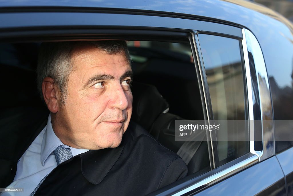 Former French President Nicolas Sarkozy's lawyer Thierry Herzog leaves the Bordeaux's courthouse, in southwestern France, on November 15, 2012, after meeting the investigating judges as part of the so-called Bettencourt case. The case including allegations of tax evasion and illegal campaign funding caused embarrassment to Sarkozy's government, after L'Oreal heiress Liliane Bettencourt's former accountant revealed that right-wing UMP party had alledgedly received illegal funding.