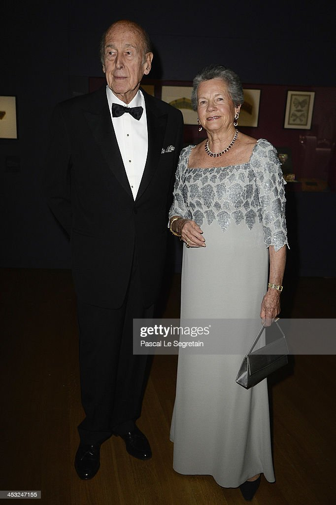 Former French President Valery Giscard d'Estaing and his wife Anne Aymone arrive at the 'Cartier: Le Style et L'Histoire' Exhibition Private Opening at Le Grand Palais on December 2, 2013 in Paris, France.