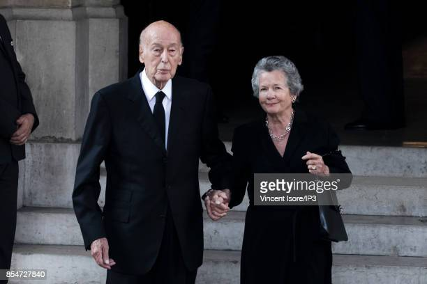 Former French President Valery Giscard D'Estaing and his wife Anne Aymone Giscard d'Estaing attend the Liliane Bettencourt's funeral organized at the...