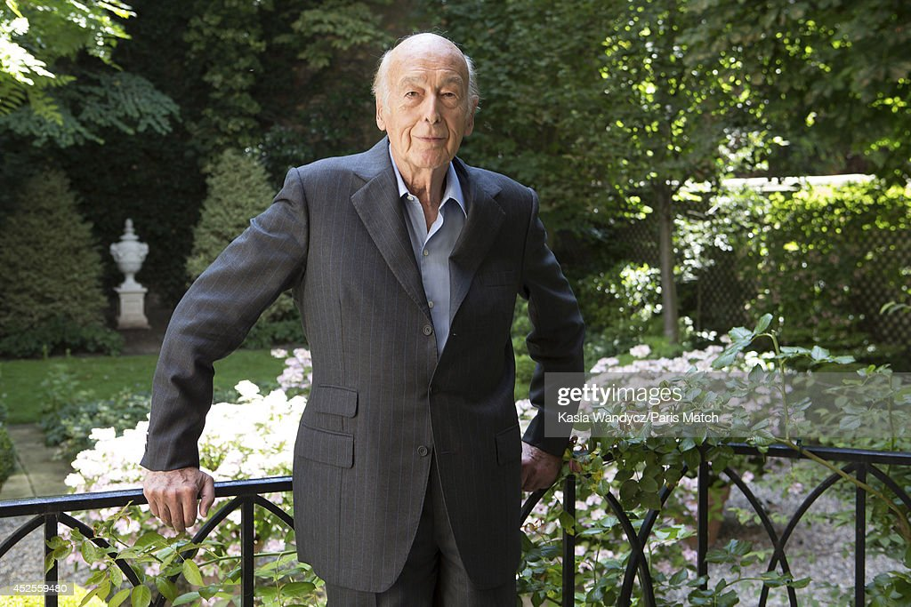 Former french President Valery Giscard D'estaing is photographed for Paris Match at home in Paris on June 24, 2014.