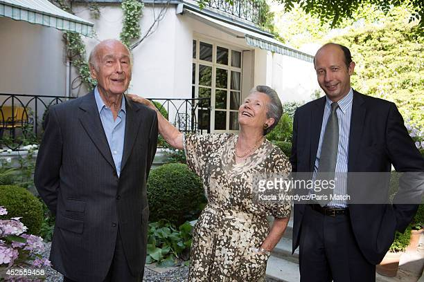 Former french President Valery Giscard D'estaing is photographed with his wife AnneAymone and their son Louis at home for Paris Match on June 24 2014