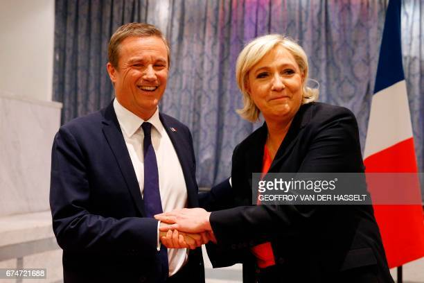 TOPSHOT Former French presidential election candidate for the rightwing Debout la France party Nicolas DupontAignan and French presidential election...
