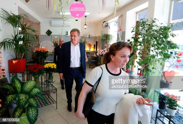 Former French presidential election candidate for the rightwing Debout la France party Nicolas DupontAignan and deputy Ouiza Haddad promote...