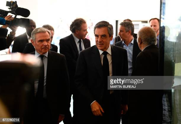 Former French presidential election candidate for the rightwing Les Republicains party and MP Francois Fillon and LR general secretary Bernard...