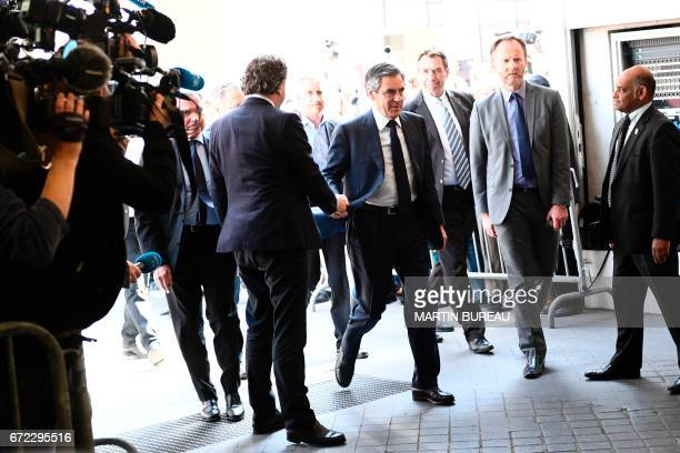 Former French presidential election candidate for the rightwing Les Republicains party and MP Francois Fillon arrives for a meeting at the LR party...