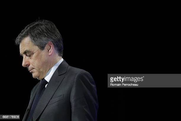 Former French Prime Minister and French presidential election candidate for the rightwing 'Les Republicains' political party Francois Fillon delivers...