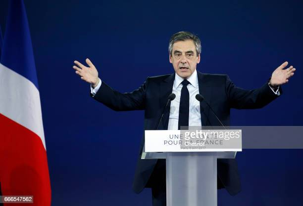 Former French Prime Minister and French presidential elections candidate for the rightwing 'Les Republicains' political party Francois Fillon...