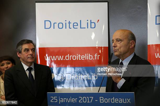Former French prime minister and member of rightwing political party 'Les Republicains' Alain Juppe delivers a speech about a new political movement...