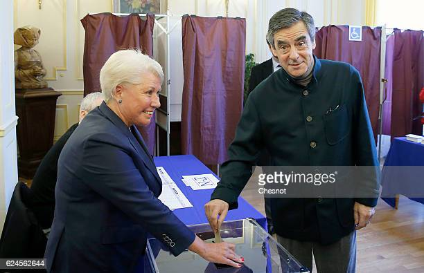 Former French Prime Minister and presidential candidate hopeful Francois Fillon votes during the first round of voting in the Republican Party's...