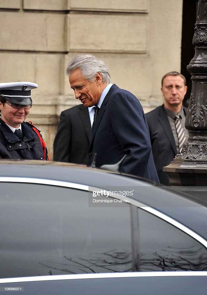 Former French Prime Minister <a gi-track='captionPersonalityLinkClicked' href=/galleries/search?phrase=Dominique+de+Villepin&family=editorial&specificpeople=548074 ng-click='$event.stopPropagation()'>Dominique de Villepin</a> leaves Elysee Palace after meeting with President Nicolas Sarkozy on February 24, 2011 in Paris, France. The meeting follows Villepin's announcement of his intention to leave the Union for a Popular Movement (UMP), in reaction to what he has stated as a divide between the ideals of the parties and the difficulties currently facing France.