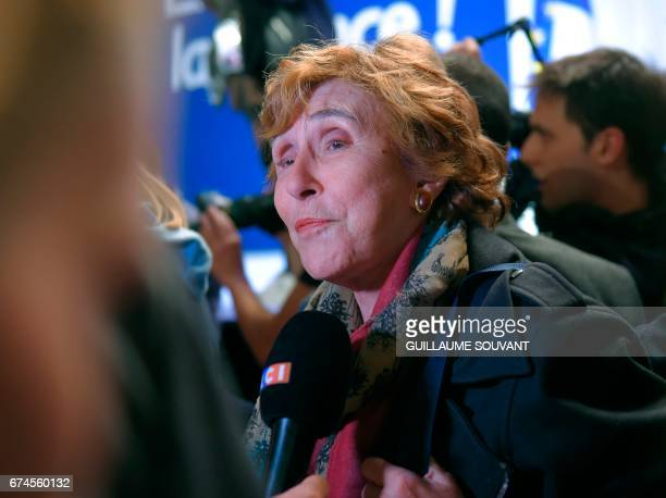 Former French prime minister Edith Cresson attends a speech given by French presidential election candidate for the En Marche movement Emmanuel...