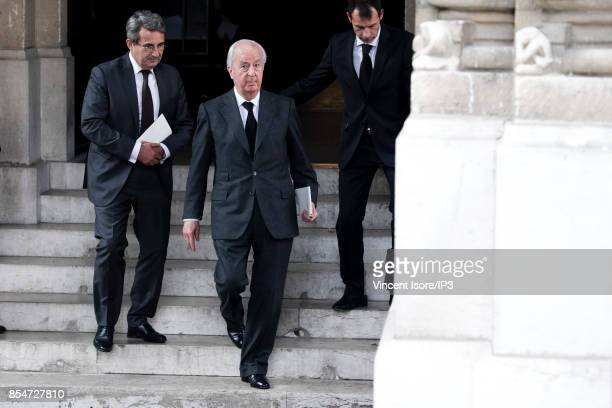 Former French Prime Minister Edouard Balladur attends the Liliane Bettencourt's funeral organized at the Saint Pierre Church on September 26 2017 in...