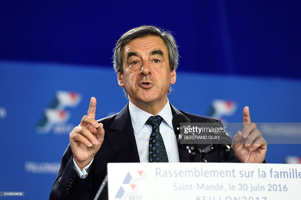 Former French Prime Minister Francois Fillon and candidate for the right-wing Les Republicains (LR) party primary delivers a speech during a meeting in Saint-Manden, near Paris. / AFP / BERTRAND
