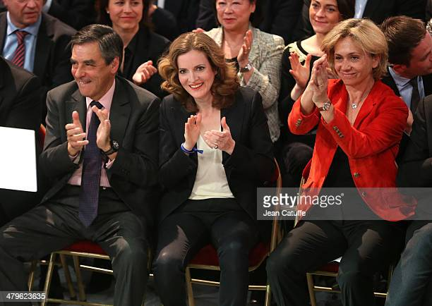 Former French Prime Minister Francois Fillon Nathalie KosciuskoMorizet and Valerie Pecresse attend the last big meeting of Paris UMP mayoral...
