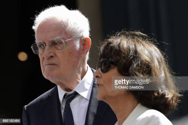 Former French prime minister Lionel Jospin and his wife Sylviane Agacinski leave the SaintRoch Church in Paris after attending the funeral of French...