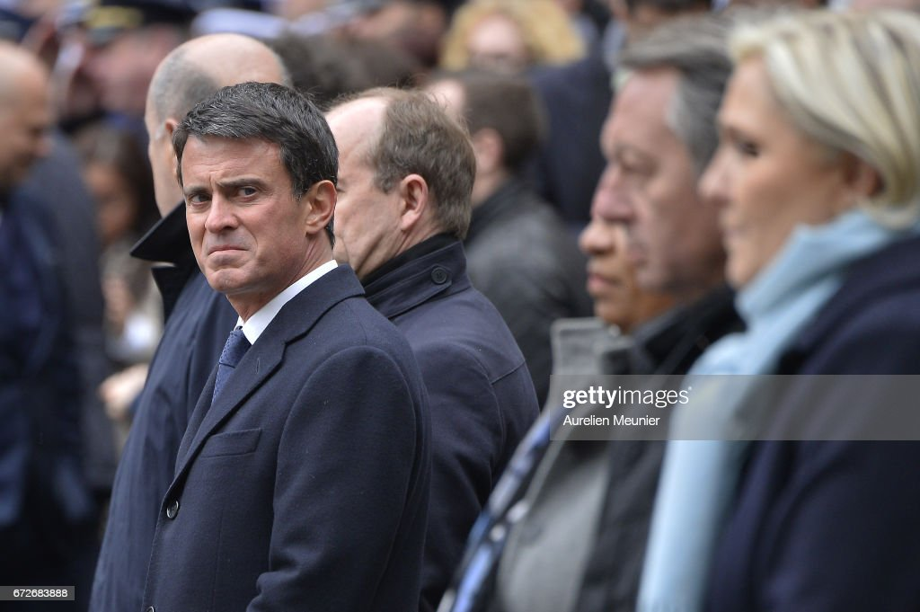 Former French Prime Minister Manuel Valls attends the National tribute to fallen French Policeman Xavier Jugele on April 25, 2017 in Paris, France. French Police Officer Xavier Jugele, 37, was shot dead by a gunman on Thursday April 20, 2017 on Paris's Champs Elysees, a few days' prior to the French Presidential elections.