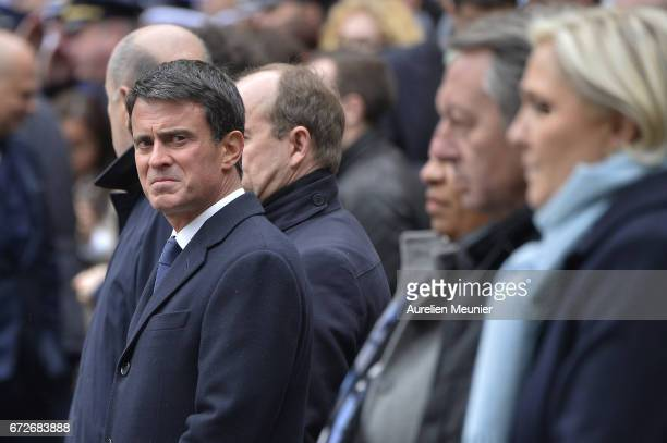 Former French Prime Minister Manuel Valls attends the National tribute to fallen French Policeman Xavier Jugele on April 25 2017 in Paris France...