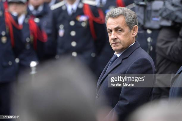 Former French Prime President Nicolas Sarkozy attends the National tribute to fallen French Policeman Xavier Jugele on April 25 2017 in Paris France...