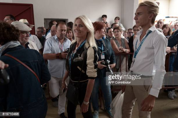 Former French rejoneadora Marie Sara arrives at Plumacon arena in Mont de Marsan during the festival of La Madeleinesouthwestern France on July 20...