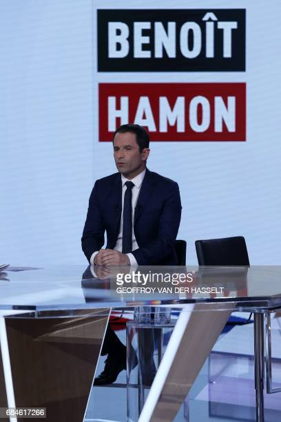 Former French socialist presidential election candidate Benoit Hamon takes part in the political TV show 'L'emission politique' on May 18 2017 on a...