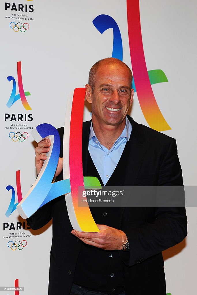 Former French tennis player Guy Forget attends the Paris 2024 file Presentation in the Paris Philharmony concert hall on February 17 2016 in Paris...