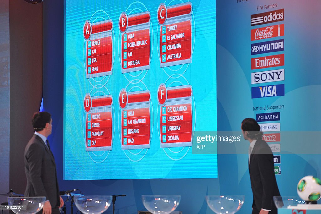 Former Galatasaray and Turkish national team Hakan Sukur (L) and Turkish former national team goalkeeper Rustu Recber (R) look at a board of group tables on March 25 ,2013 during the FIFA U-20 World Cup Turkey 2013 draw in istanbul. The FIFA U-20 World Cup will be held in Turkey between June 21 and July 13. KOSE