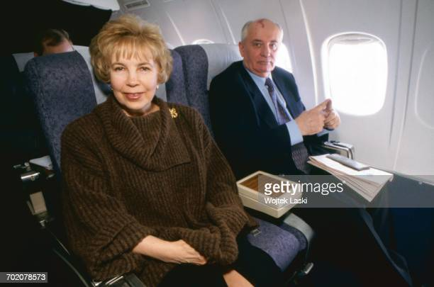 former General Secretary of the Communist Party of the Soviet Union Mikhail Gorbachev with his wife Raisa Gorbacheva on board of a plane to Saint...