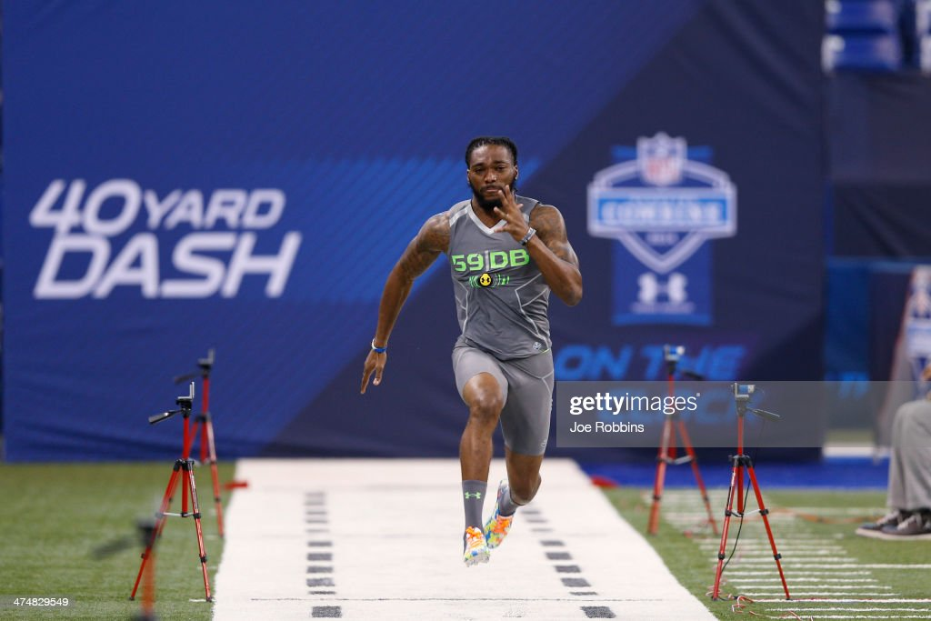 Former Georgia Southern defensive back Lavelle Westbrooks runs the 40yard dash during the 2014 NFL Combine at Lucas Oil Stadium on February 25 2014...