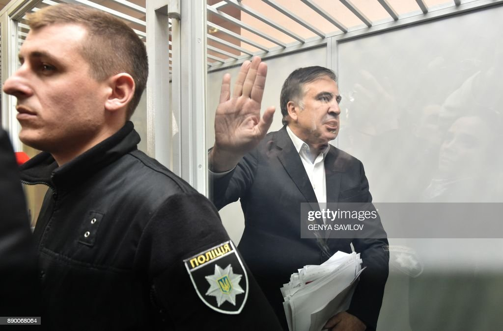 Former Georgian president Mikheil Saakashvili attends his hearing at the Kiev courthouse