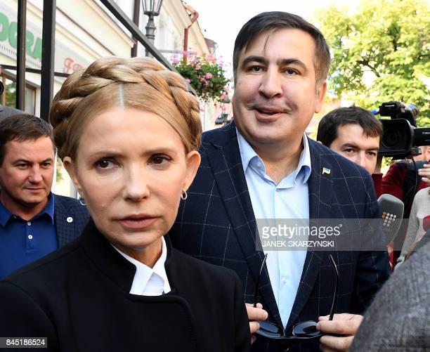 Former Georgian President Mikheil Saakashvili and Former Ukrainian Prime Minister Yulia Tymoshenko meet in Rzeszow southeastern Poland on September...