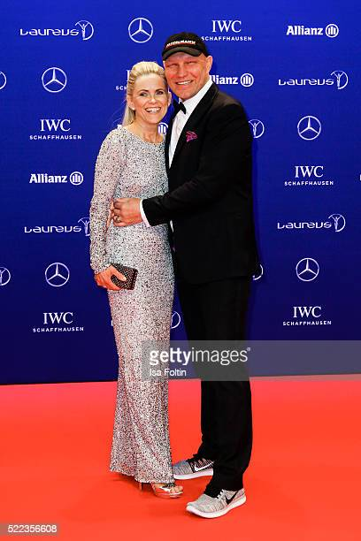 Former German boxer Axel Schulz his wife Patricia Schulz attend the Laureus World Sports Awards 2016 on April 18 2016 in Berlin Germany
