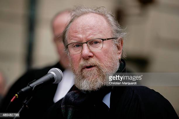 Former German Bundestag President Wolfgang Thierse gives a speech during the the ecumenical Good Friday procession on April 18 2014 in Berlin Germany...