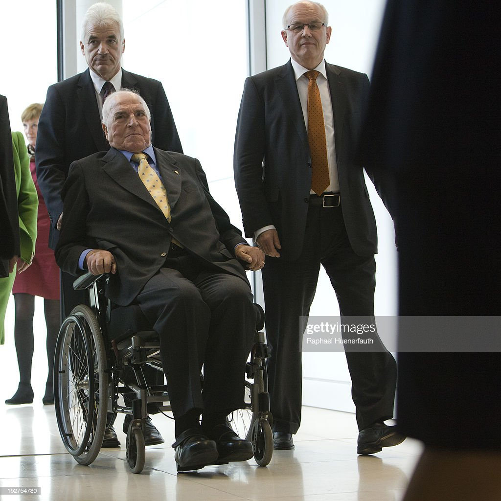 Former German Cancellor <a gi-track='captionPersonalityLinkClicked' href=/galleries/search?phrase=Helmut+Kohl&family=editorial&specificpeople=202518 ng-click='$event.stopPropagation()'>Helmut Kohl</a> (L) and Volker Kauder (R), CDU/CSU Group Chairman, visits the CDU/CSU parliamentary group at the Bundestag on September 25, 2012 in Berlin, Germany. Thursday is the 30th anniversary of his election as German Cancellor.