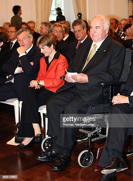 Former German Chancellor Dr Helmut Kohl and his wife Dr Maike KohlRichter attend the HannsMartin Schleyer award ceremony at the new castle on May 8...