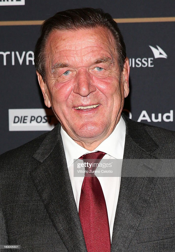 Former German Chancellor Gerhard Schroder attends an evening with Arthur Cohn during the Zurich Film Festival 2013 on October 3, 2013 in Zurich, Switzerland.