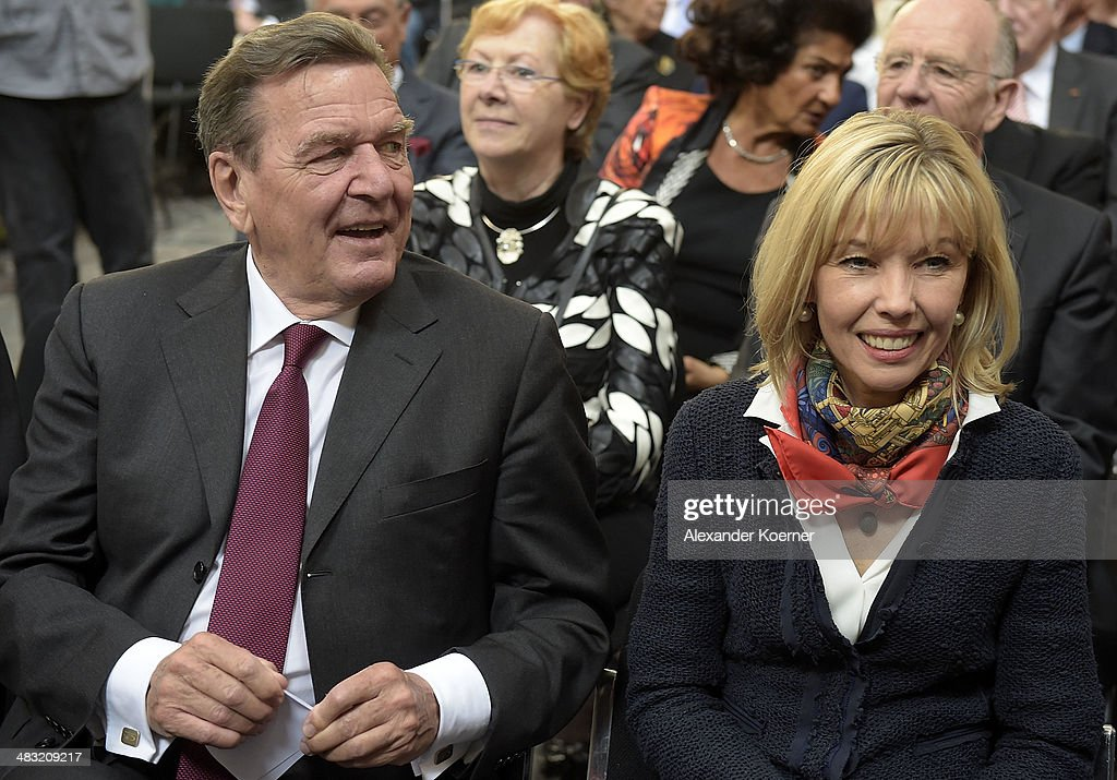 Former German Chancellor Gerhard Schroeder and his wife <a gi-track='captionPersonalityLinkClicked' href=/galleries/search?phrase=Doris+Schroeder-Koepf&family=editorial&specificpeople=224024 ng-click='$event.stopPropagation()'>Doris Schroeder-Koepf</a> attend a reception to celebrate his 70th birthday at City Hall on April 7, 2014 in Hanover, Germany. About 200 invited guests attended the event to honor Schroeder, who served as German chancellor from 1998 to 2005.