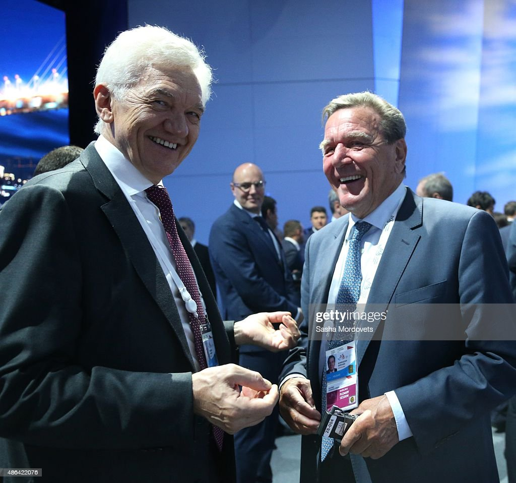Former German Chancellor Gerhard Schroeder (R) and Russian billionaire and businessman <a gi-track='captionPersonalityLinkClicked' href=/galleries/search?phrase=Gennady+Timchenko&family=editorial&specificpeople=10841361 ng-click='$event.stopPropagation()'>Gennady Timchenko</a> (L) seen during the Eastern Economic Forum September,4, 2015 in Vladivostok, Russia. Some 1500 foreign delgates from 24 countries are in attendance for the forum's first gathering.