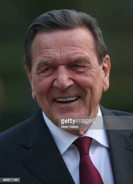 Former German Chancellor Gerhard Schroeder at a reception hosted by the German Social Democrats to mark Schroeder's 70th birthday at Hamburger...