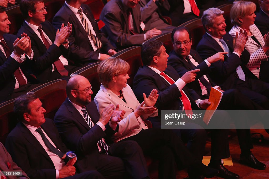 Former German Chancellor Gerhard Schroeder, European Parliament President Martin Schulz, German Chancellor <a gi-track='captionPersonalityLinkClicked' href=/galleries/search?phrase=Angela+Merkel&family=editorial&specificpeople=202161 ng-click='$event.stopPropagation()'>Angela Merkel</a>, German Social Democrats (SPD) Chairman <a gi-track='captionPersonalityLinkClicked' href=/galleries/search?phrase=Sigmar+Gabriel&family=editorial&specificpeople=543927 ng-click='$event.stopPropagation()'>Sigmar Gabriel</a>, French President Francois Hollande, German President <a gi-track='captionPersonalityLinkClicked' href=/galleries/search?phrase=Joachim+Gauck&family=editorial&specificpeople=2077888 ng-click='$event.stopPropagation()'>Joachim Gauck</a> and North Rhine-Westfalia Governor <a gi-track='captionPersonalityLinkClicked' href=/galleries/search?phrase=Hannelore+Kraft&family=editorial&specificpeople=4643983 ng-click='$event.stopPropagation()'>Hannelore Kraft</a> attend the 150th anniversary celebration of the German Social Democrats (SPD) on May 23, 2013 in Leipzig, Germany. The SPD, Germany's main left-wing party, traces its history to the founding of the 'Allgemeine Deutsche Arbeiterverein' (General German Workers' Association) in Leipzig in May of 1863.