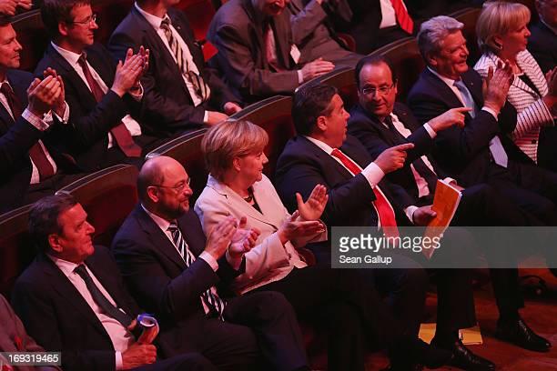 Former German Chancellor Gerhard Schroeder European Parliament President Martin Schulz German Chancellor Angela Merkel German Social Democrats...