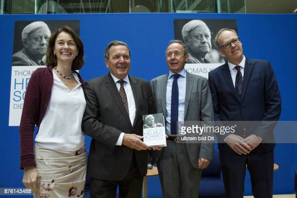 Former German Chancellor Gerhard Schroeder presents the book of the author Thomas Karlauf 'Helmut Schmidt The late years' in the WillyBrandtHouse...